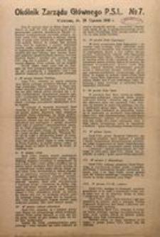 Okólnik Zarządu Głównego P.S.L. No 7. Warszawa, dn. 28 Stycznia 1918 r.