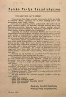 Towarzysze! Obywatele! 10 lipca, 1917. Polska Partia Socjalistyczna