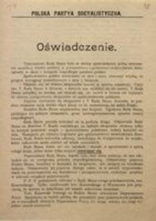 Oświadczenie. d. 2 maja 1917 r. Polska Partia Socjalistyczna