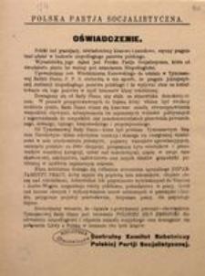 Oświadczenie! Polska Partia Socjalistyczna