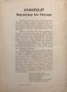 Komunikat Międzypartyjnego Koła Politycznego. Warszawa, 11 września 1917 r.