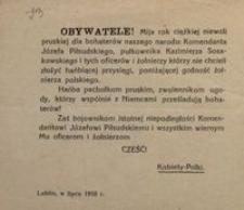 Obywatele! Lublin, w lipcu 1918 r.