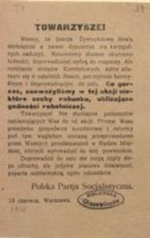 Towarzysze! 19 czerwca, Warszawa. Polska Partia Socjalistyczna