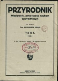 Przyrodnik : miesięcznik dla młodzieży, poświęcony naukom przyrodniczym, 1924, Nry 1-12