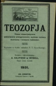 Teozofja : pismo nieperjodyczne poświęcone pielęgnowaniu wyższej kultury duchowej i brataniu ludzkości, 1931, Nry 11/12