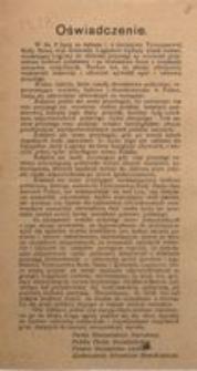 Oświadczenie. Partia Niezawisłości Narodowej. Polska Partia Socjalistyczna. Polskie Stronnictwo Ludowe. Zjednoczenie Stronnictw Demokratycznych.