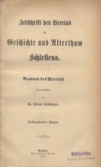 Zeitschrift des Vereins für Geschichte und Alterthum Schlesiens, 1882, Bd. 16
