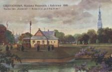 """Częstochowa. Wystawa Przemysłu i Rolnictwa. 1909. Pawilon fabr. """"Zawiercie"""". Restauracja """"Pod Kogutkiem"""""""