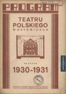 """Teatr Polski w Katowicach. 1930-1931. Program. """"Manewry jesienne"""". Operetka w 3 aktach Karola Bakonyi. Muzyka E. Kalmana"""