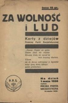 Za wolność i lud. Karty z dziejów Polskiej Partii Socjalistycznej. Na dzień 1 maja 1938