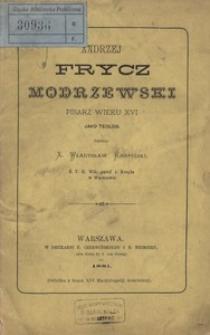 Andrzej Frycz Modrzewski pisarz wieku XVI jako teolog