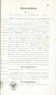 Metryka urodzenia wystawiona w 1905 r.
