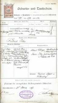 Metryka urodzenia wystawiona w 1907 r.