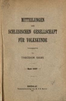 Mitteilungen der Schlesischen Gesellschaft für Volkskunde, Bd. 35 (1935)