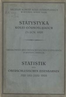 Statystyka Kolei Górnośląskich za rok 1929