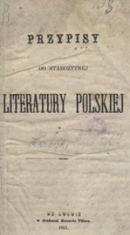 Przypisy do starożytnej literatury polskiej