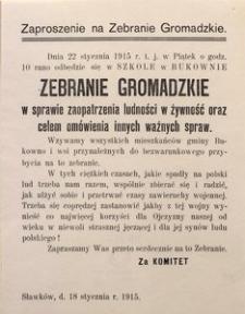 Zaproszenie na Zebranie Gromadzkie. Sławków, d. 18 stycznia r. 1915