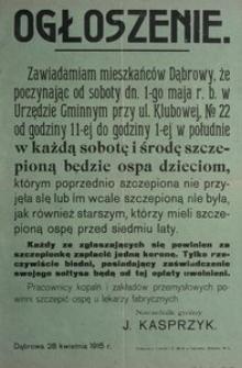 Ogłoszenie. Dąbrowa 28 kwietnia 1915 r. Naczelnik gminy J. Kasprzyk