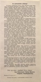 Do społeczeństwa polskiego! Warszawa, 27 sierpnia 1914 r. Unia Stowarzyszeń Polskiej Młodzieży Postępowej Niepodległościowej