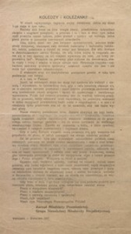 Koledzy i Koleżanki! Warszawa – Kwiecień. 1917