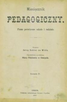 Miesięcznik Pedagogiczny, 1895, R. 4, Spis treści