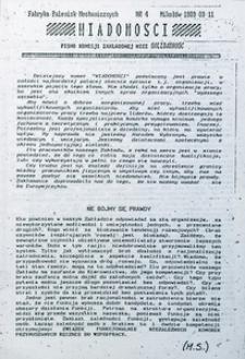 """Wiadomości. Pismo zakładowej organizacji NSZZ """"Solidarność"""", 1989, nr 4"""