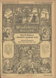 Wiadomości Misyjne, 1934, R. 44, nr 7