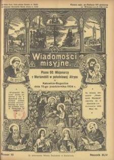 Wiadomości Misyjne, 1934, R. 44, nr 10