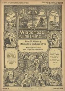 Wiadomości Misyjne, 1935, R. 45, nr 1