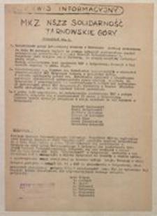 """Serwis Informacyjny MKZ NSZZ """"Solidarność"""" Tarnowskie Góry. Komunikat nr 9 [1981]"""