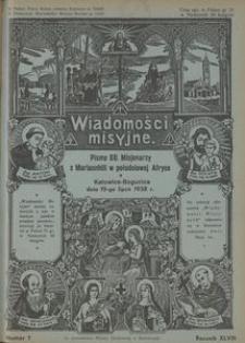 Wiadomości Misyjne, 1938, R. 48, nr 7