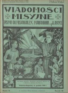 Wiadomości Misyjne, 1938, R. 48, nr 12