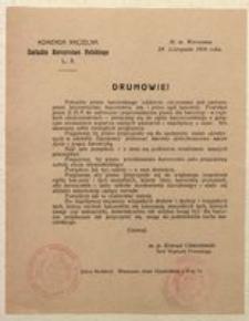 Druhowie! St. M. Warszawa 29 Listopada 1916 roku. Komenda Naczelna Związku Harcerstwa Polskiego