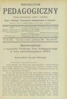 Miesięcznik Pedagogiczny, 1906, R. 15, nr 9/10