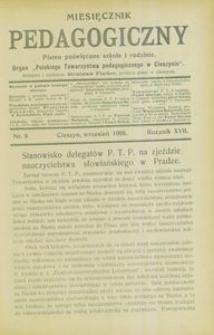 Miesięcznik Pedagogiczny, 1908, R. 17, nr 9