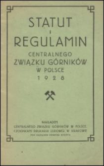 Statut i regulamin Centralnego Związku Górników w Polsce 1928