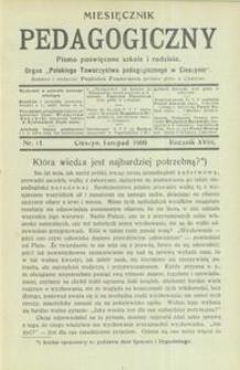 Miesięcznik Pedagogiczny, 1909, R. 18, nr 11