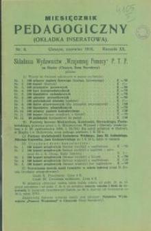 Miesięcznik Pedagogiczny, 1910, R. 20 [właśc. 19], nr 6