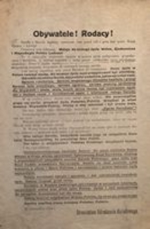 Obywatele! Rodacy! W Listopadzie 1918 r. Stronnictwo Odrodzenia Narodowego