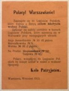 Polacy! Warszawianie! Warszawa, Wrzesień 1915. Koło Patriotów