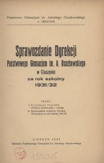 Sprawozdanie Dyrekcji Państwowego Gimnazjum im. A. Osuchowskiego w Cieszynie, 1931/1932