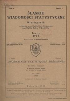 Śląskie Wiadomości Statystyczne, 1938, R. 5, z. 2