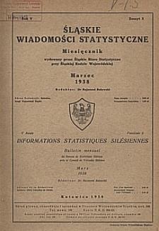 Śląskie Wiadomości Statystyczne, 1938, R. 5, z. 3