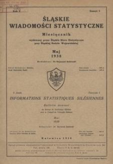 Śląskie Wiadomości Statystyczne, 1938, R. 5, z. 5