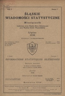 Śląskie Wiadomości Statystyczne, 1938, R. 5, z. 7