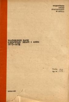 Ważniejsze dane o rozwoju miast i gmin 1975-1978