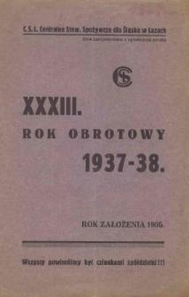 Rok Obrotowy 1937/38 / (Centralne Stowarzyszenie Spożywcze dla Śląska w Łazach)
