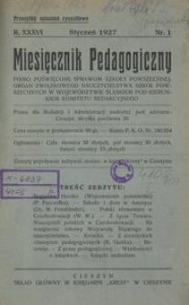 Miesięcznik Pedagogiczny, 1927, R. 36, nr 1