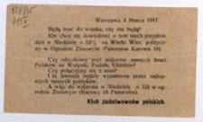 [Zawiadomienie]. Warszawa 4 Marca 1917. Klub Państwowców Polskich.