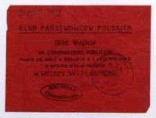 Bilet. Klub Państwowców Polskich